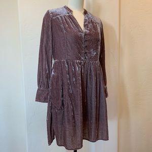 Anthropologie Crushed Velvet Dress in Mauve